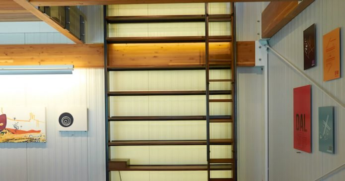 free-standing library shelves with ladder