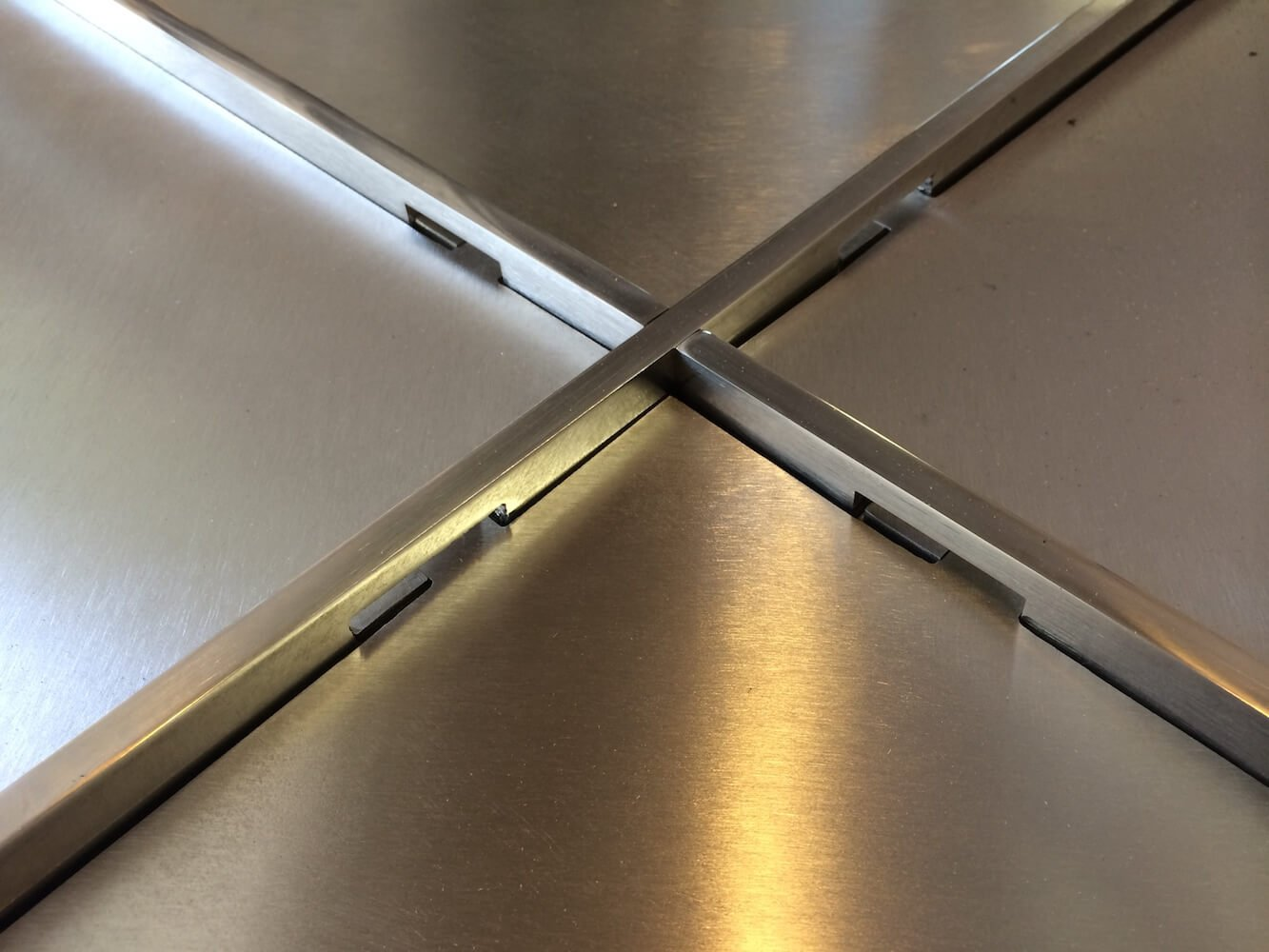 Stainless steel tabletop detail