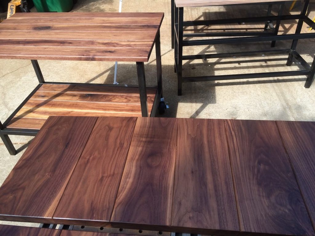 Walnut and Steel Retail Tables