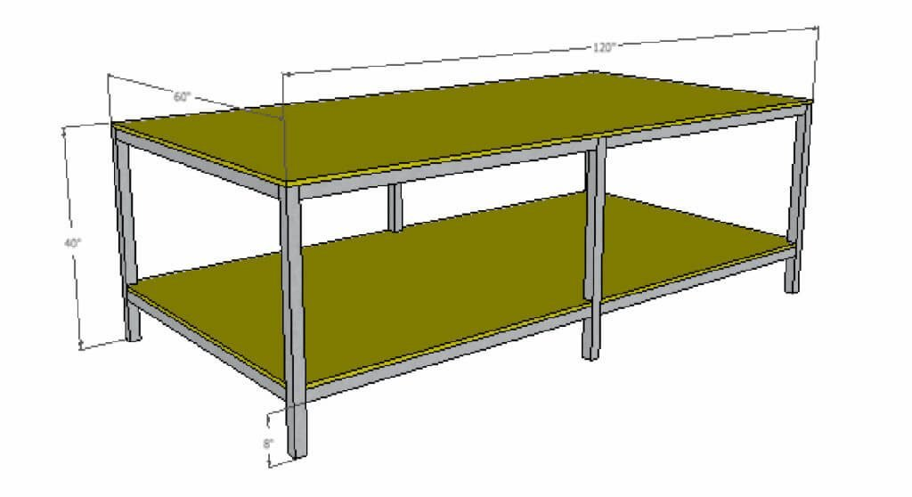 standard 5 foot by 10 foot commercial table