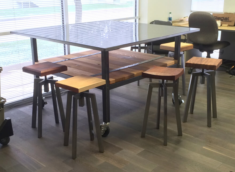 Steel and Cedar Marketing Table