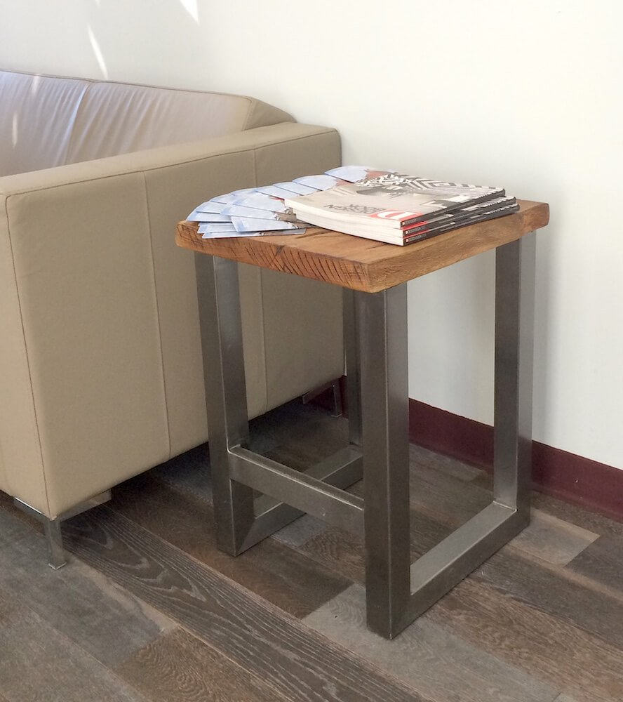 Steel and Oak End Table Stool