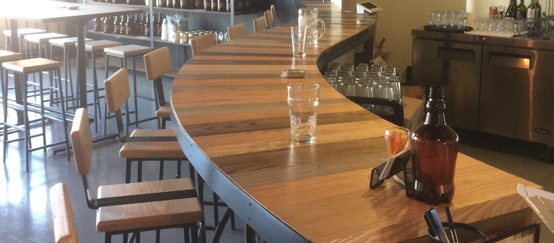 counter with stools at What's On Tap